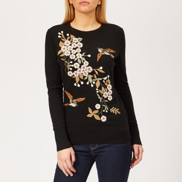 c608346a2a7592 Ted Baker Women s Helliah Graceful Embroidery Jumper - Black Womens ...
