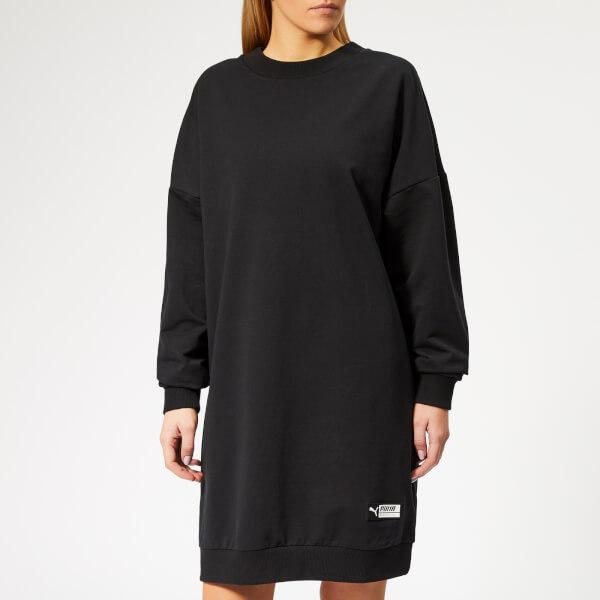 Puma Women's TZ Long Crew Neck Sweatshirt Dress - Cotton Black