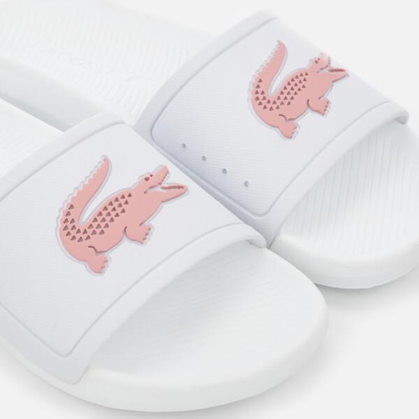 5f7a609eb Lacoste Women s Croco Slide 119 3 Sandals - White Light Pink  Image 3