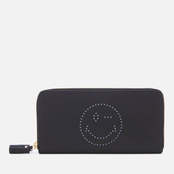 Anya Hindmarch Women's Wink Face Zip Around Wallet - Black