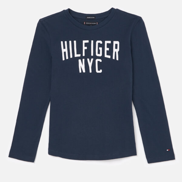 Tommy Hilfiger Boys' Essential Logo Long Sleeve T-Shirt - Black Iris