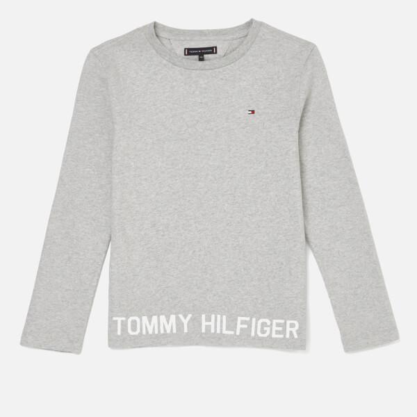 Tommy Hilfiger Boys' Hem Logo Long Sleeve T-Shirt - Grey Heather