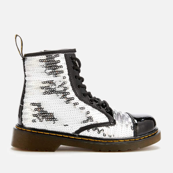 Dr. Martens Kid's 1460 Pooch Sequin 8-Eye Boots - Black