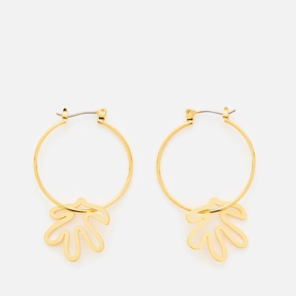 Whistles Women's Abstract Leaf Hoop Earrings - Gold