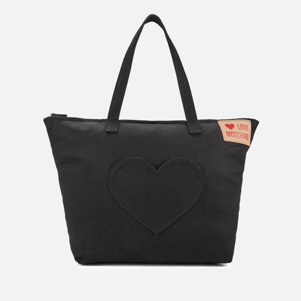 6bd03b6c984 Love Moschino Women's Large Canvas Heart Pocket Tote Bag - Black: Image 1