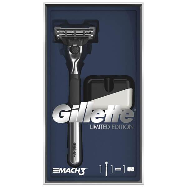 Gillette Mach3 Razor Gift Pack and Razor Stand (Chrome Handle)