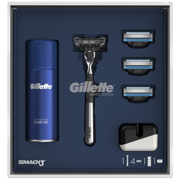 Gillette Mach3 3 Blade Razor Gift Pack with Shaving Gel and Razor Stand