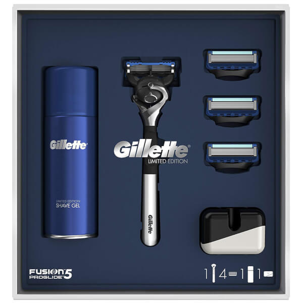 Gillette Fusion5 ProGlide 3 Blade Razor with Shaving Gel and Stand