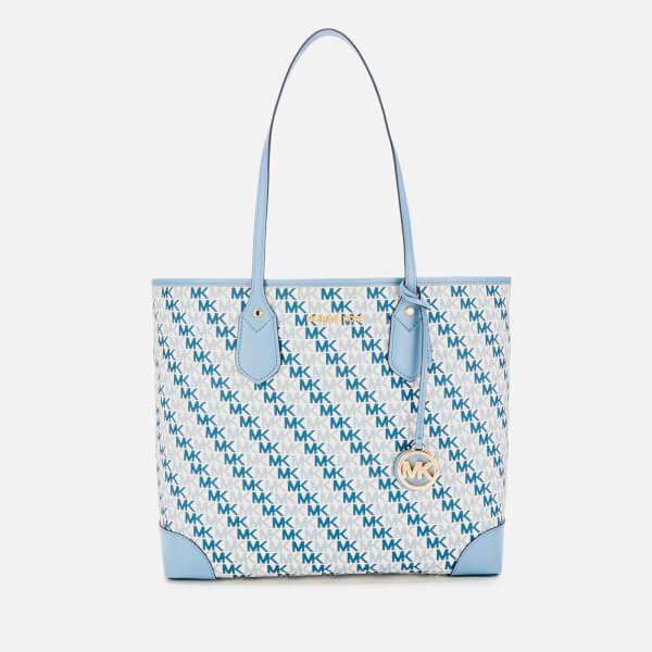 c38cfb9404 MICHAEL MICHAEL KORS Women's Eva Large Tote Bag - Optic White (Blue Logo):