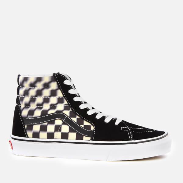 d85edc43226 Vans Blur Check Sk8-Hi Trainers - Black Classic White Mens Footwear ...