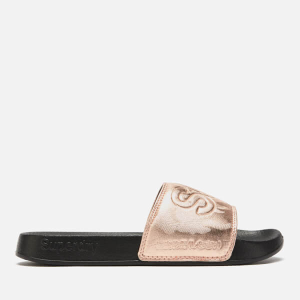 Superdry Blackrose Pool Womens Sandals Women's Slide Gold Camo hdCstQrxB