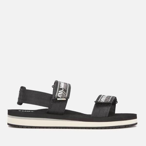 TOMS Women's Ray Vegan Double Strap Sandals - Black Ripstock