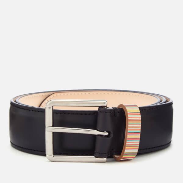 Paul Smith Men's Striped Keeper Belt - Black
