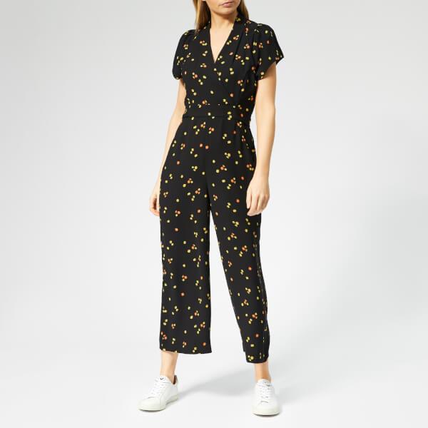 Whistles Women's Mirco Floral Print Tie Back Jumpsuit - Black/Multi