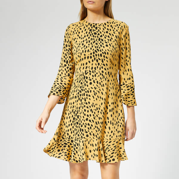 Whistles Women's Animal Print Flippy Dress - Cream/Multi