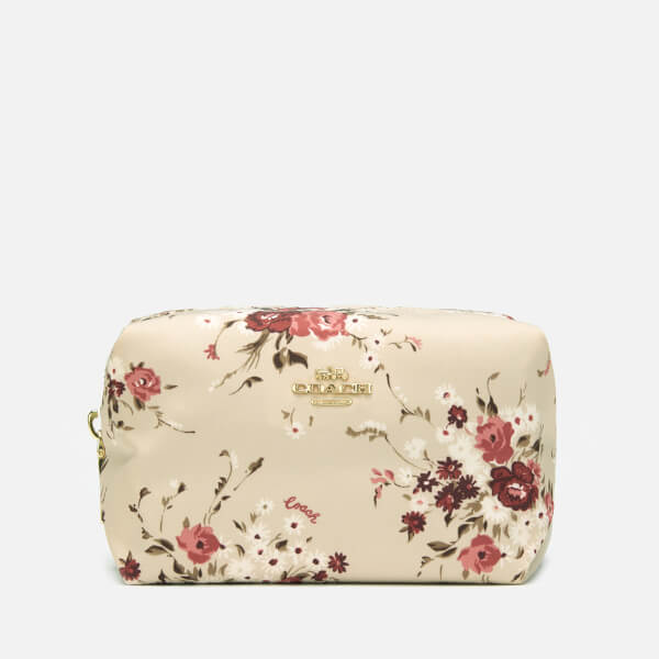 Coach Women's Beechwood Floral Print Small Nylon Cosmetic Case - Beechwood Floral Bundle