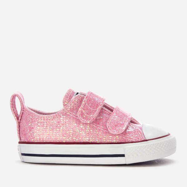 Converse Toddlers' Chuck Taylor All Star 2 Velcro Ox Trainers - Pink Foam/Enamel Red/White