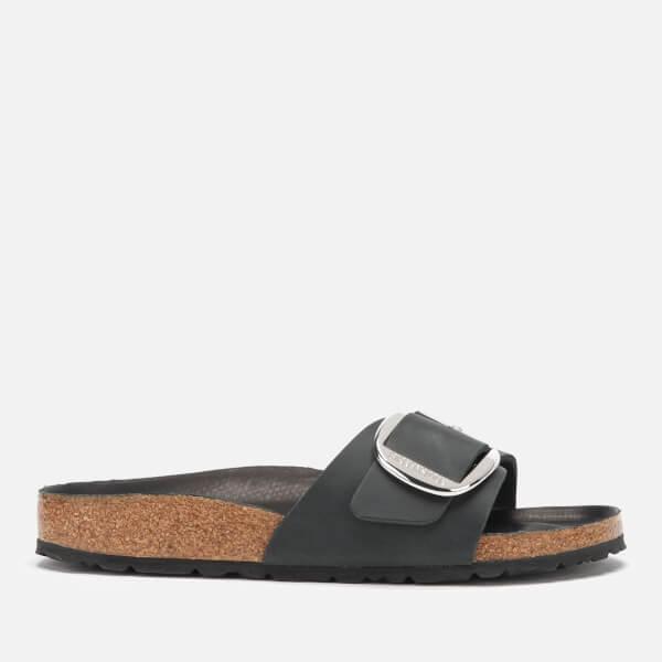 Birkenstock Women's Madrid Big Buckle Leather Slim Fit Double Strap Sandals - Black