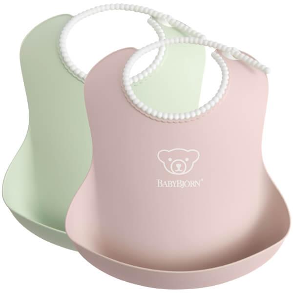 BABYBJÖRN Baby Bib - Green and Powder Pink (2 Pack)