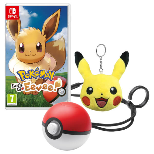 Pokemon: Let's Go, Eevee! + Poke Ball Plus + Pikachu Keychain