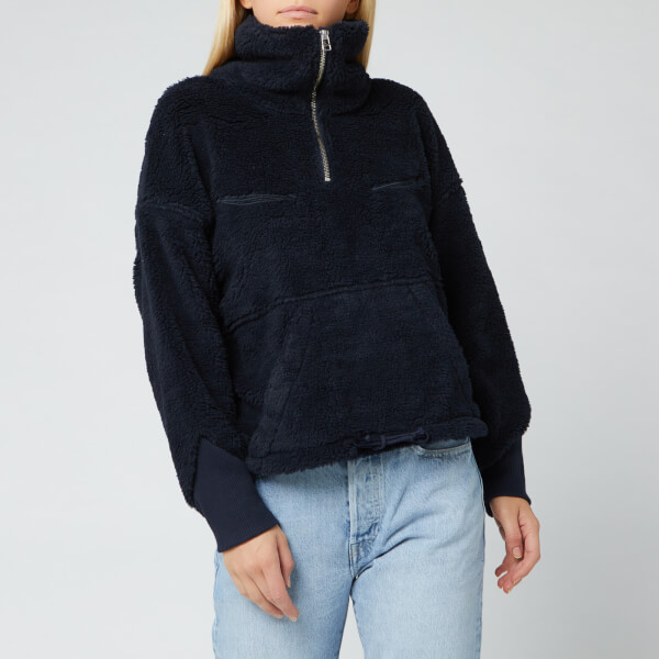 levi's women's made and crafted sherpa track popover - navy peony - xs
