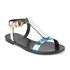 HUGO Women's Serine-R Flat Leather T-Bar Sandals - Open White: Image 5