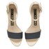 Kat Maconie Jenny Leather Block Heel Contrast Sandals - Grey/Nude: Image 2