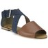 Ravel Women's Dallas Multi Strap Peep Toe Flat Sandals - Navy/Tan: Image 5