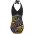 Zoggs Women's Neon Tribal Plunge Swimsuit - Black/Multi: Image 4