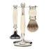 Truefitt & Hill Edwardian Badger MachIII Razor, Brush and Stand Set - Faux Ivory: Image 1