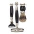 Truefitt & Hill Edwardian Badger MachIII Razor, Brush and Stand Set - Faux Ebony: Image 3