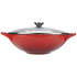 Le Creuset Cast Iron Wok with Glass Lid - 32cm - Cerise: Image 1