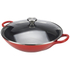 Le Creuset Cast Iron Wok with Glass Lid - 32cm - Cerise: Image 2