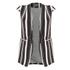 Lavish Alice Women's Stripe Collarless Cape Blazer - Black/Cream/Burgundy: Image 5