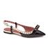 REDValentino Women's Eyelet Bow Slingback Pointed Toe Flats - Black & White: Image 2
