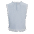 T by Alexander Wang Women's Frayed Burlap Sleeveless Crop Top - Sky: Image 2