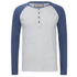 Brave Soul Men's Rasmus Grandad Long Sleeved Top - Ecru/Vintage Blue: Image 1