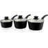 Tower T90921B Taper 3 Piece Saucepan Set - Black - 18/20/22cm: Image 1