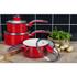 Swan SWPS3020RN 3 Piece Retro Aluminium Saucepan Set - Red: Image 2