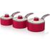 Swan SWPS3020RN 3 Piece Retro Aluminium Saucepan Set - Red: Image 1