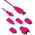Kit Universal Charge & Data Transfer Cable with 5 Tips - Pink: Image 1