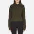 Carven Women's Fold Over Collar Cropped Jumper - Khaki: Image 1