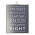 Parlane 'I'm Not Argumentative' Glass Hanging Sign - Clear (20 x 15cm): Image 1
