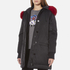 KENZO Women's Removable Red Fur Lined Long Parka - Black: Image 2