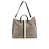 Clare V. Women's Supreme Simple Tote Bag - Dark Grey Suede With Black/White Stripes: Image 1