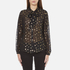 Maison Scotch Women's Sheer Printed Top with Neck Tie - Black: Image 1