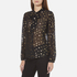 Maison Scotch Women's Sheer Printed Top with Neck Tie - Black: Image 2
