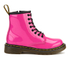 Dr. Martens Kids' Delaney Patent Leather Lace Boots - Hot Pink: Image 1