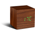 Gingko Cube Walnut Click LED Clock - Green: Image 3