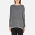 Paisie Women's Ribbed Jumper with Side Splits - Marl Grey: Image 1